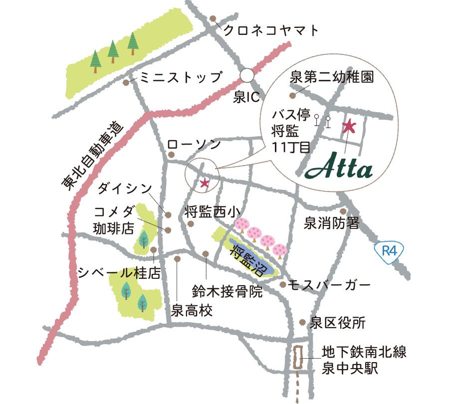 Atta工房の地図
